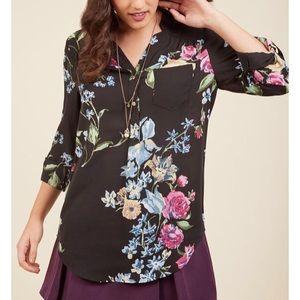 ModCloth Pam Breeze-ly Blouse in Black-Floral 3X